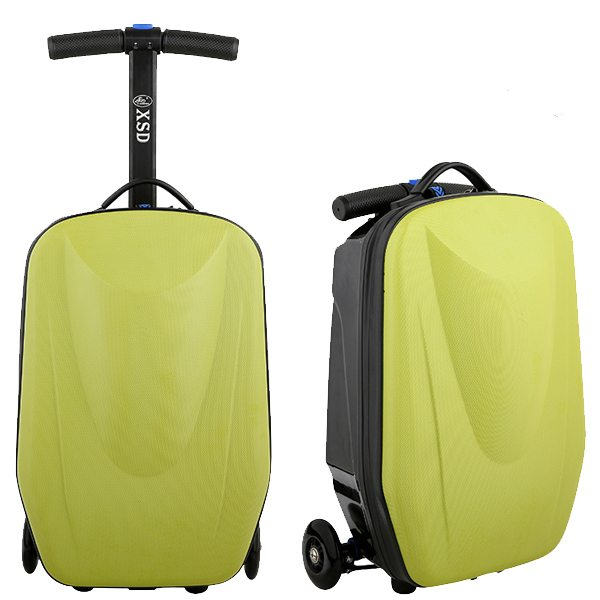 Rolling Multifunctional  Wheel Scooter Suitcase Luggage Scooter for Business Travel (Lime)