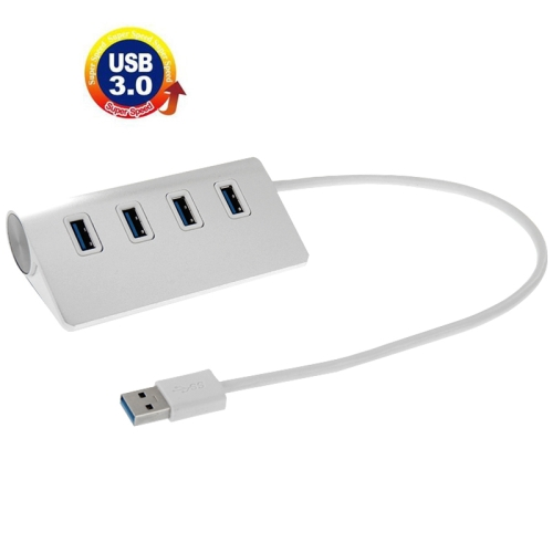 New Arrival High 4 Ports USB 3.0 HUB Speed 5Gbps Portable Aluminum USB Splitter, Support 2TB(White)