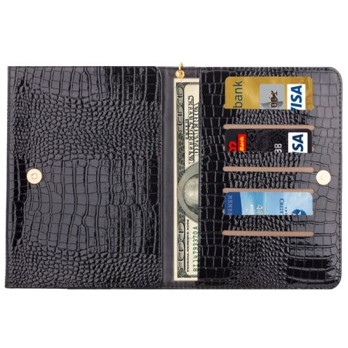 8.0 Inch Universal Crocodile Texture Case for ipad mini 1 / 2 / 3 with Wallet & Card Slots (Black)