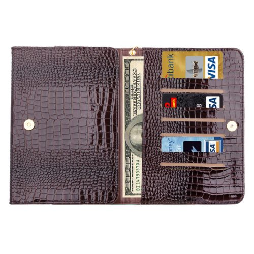8.0 Inch Universal Crocodile Texture Case for ipad mini 1 / 2 / 3 with Wallet & Card Slots (Brown)