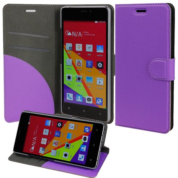 Wallet Case Flip Cover for BLU Vivo Air with Stand and Pockets for ID and Credit Cards (Purple)