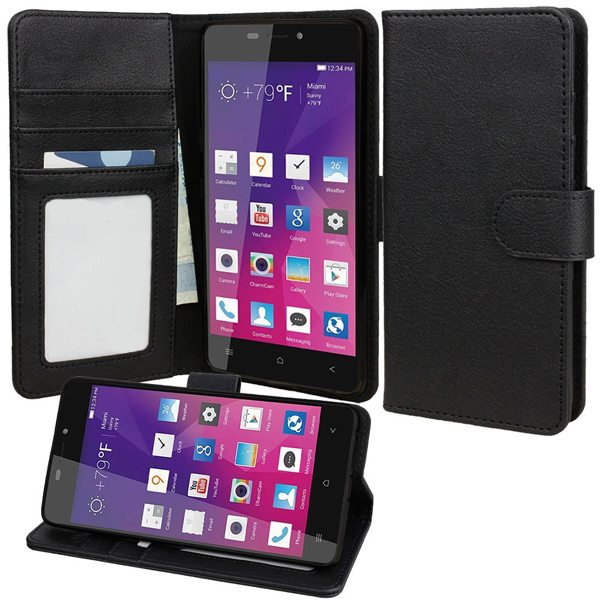 Wallet Case Flip Cover for BLU Vivo Air with Stand and Pockets for ID and Credit Cards (Black)
