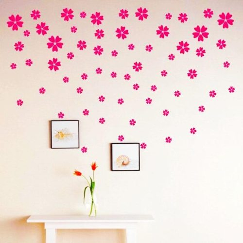 Small Flower Pattern Removeable PVC Wall Stickers Home Decor, Put Together Randomly