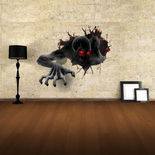 3D Terror Pattern Wall Decor Removable Vinyl Wall Stickers, Size: 68cm x 58cm