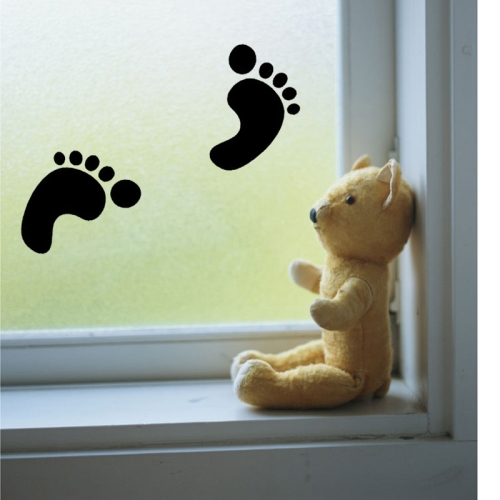 Footprints Pattern Removable Vinyl Sticker Decal Home Decor (Size: 30cm x 18cm)