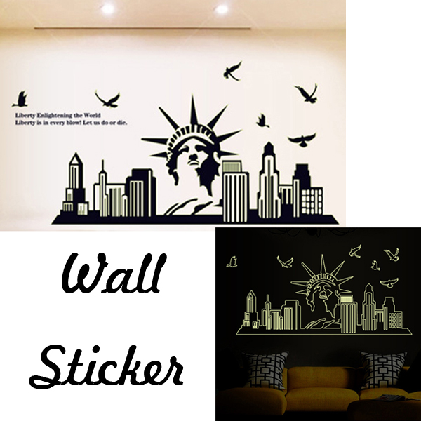 Goddess of Liberty Pattern Removable Vinyl Luminous Sticker Decal Home Decor (Size:65cm*130cm)