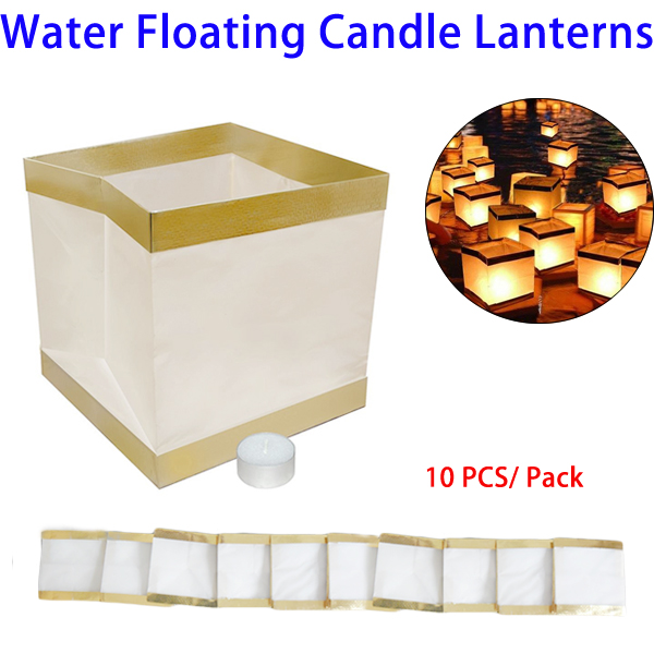10pcs/Pack Water Floating Candle Lanterns Biodegradable White Chinese Paper Lanterns for Wishing