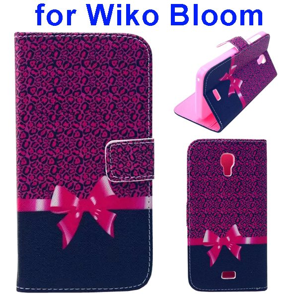 Color Printing Folio Flip Wallet Leather Case Cover for WIKO Bloom (Bowknot)
