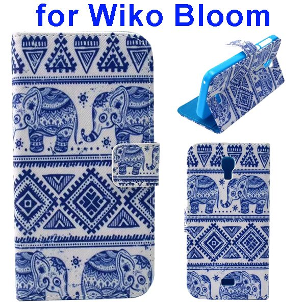 Color Printing Folio Flip Wallet Leather Case Cover for WIKO Bloom (Elephants)