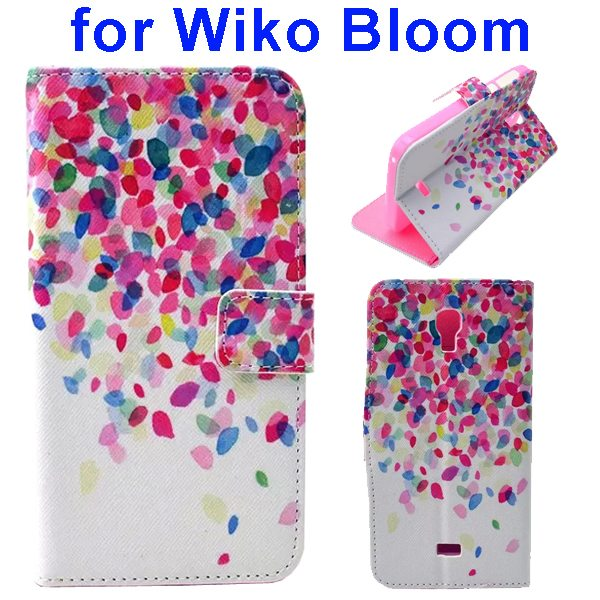 Color Printing Folio Flip Wallet Leather Case Cover for WIKO Bloom (Colorful Leaves)