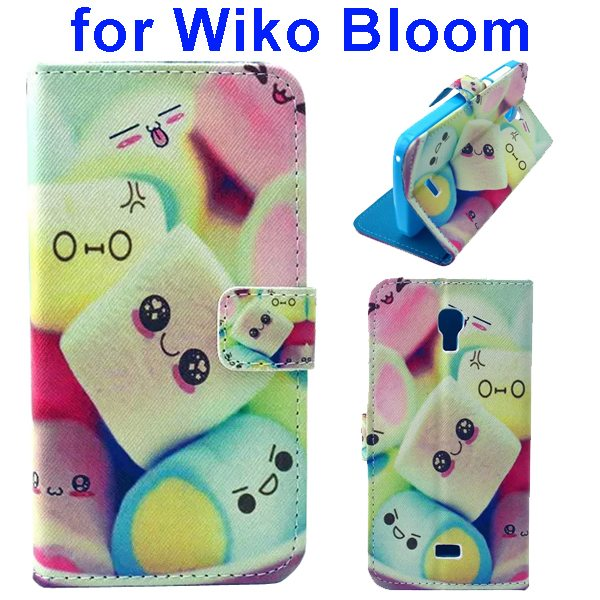Color Printing Folio Flip Wallet Leather Case Cover for WIKO Bloom (Cute Face)