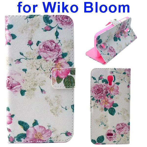 Color Printing Folio Flip Wallet Leather Case Cover for WIKO Bloom (Flowers)