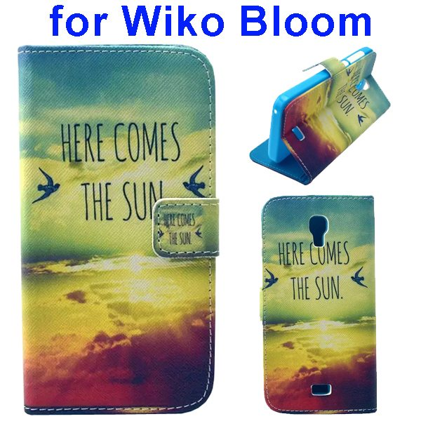 Color Printing Folio Flip Wallet Leather Case Cover for WIKO Bloom (Sunshine)