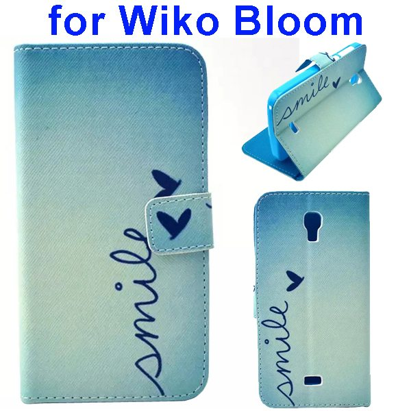 Color Printing Folio Flip Wallet Leather Case Cover for WIKO Bloom (Smile)