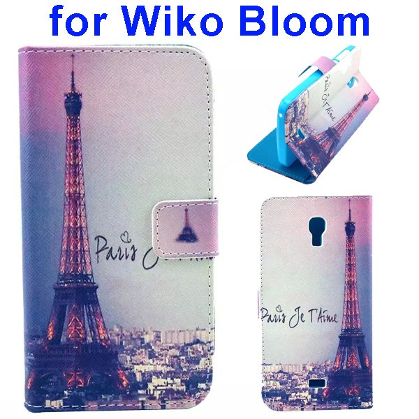Color Printing Folio Flip Wallet Leather Case Cover for WIKO Bloom (Tower)