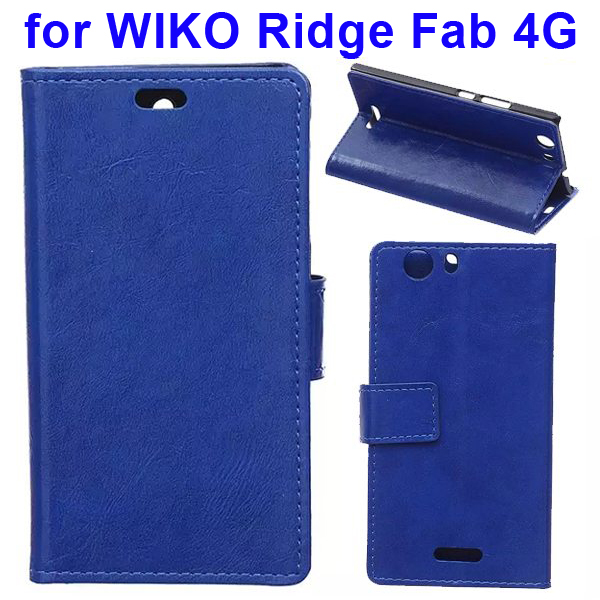 Crystal Texture Magnetic Buckle Style PU Leather Wallet Mobile Phone Cover for WIKO Ridge Fab (Blue)
