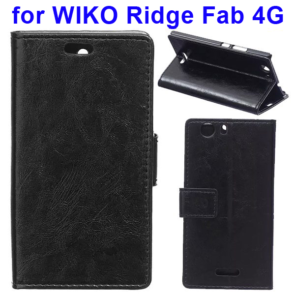 Crystal Texture Magnetic Buckle Style PU Leather Wallet Mobile Phone Cover for WIKO Ridge Fab (Black)