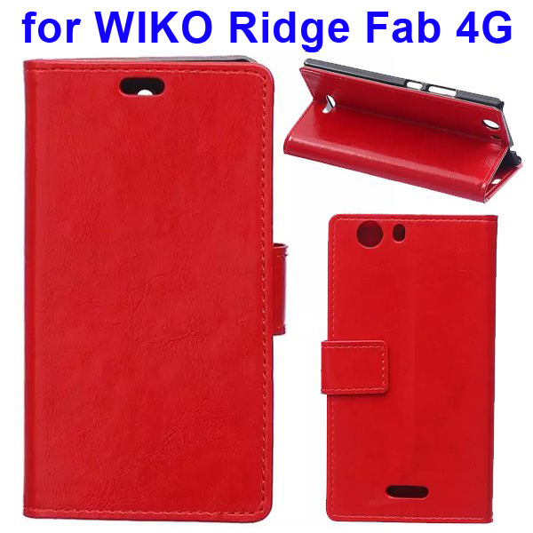 Crystal Texture Magnetic Buckle Style PU Leather Wallet Mobile Phone Cover for WIKO Ridge Fab (Red)