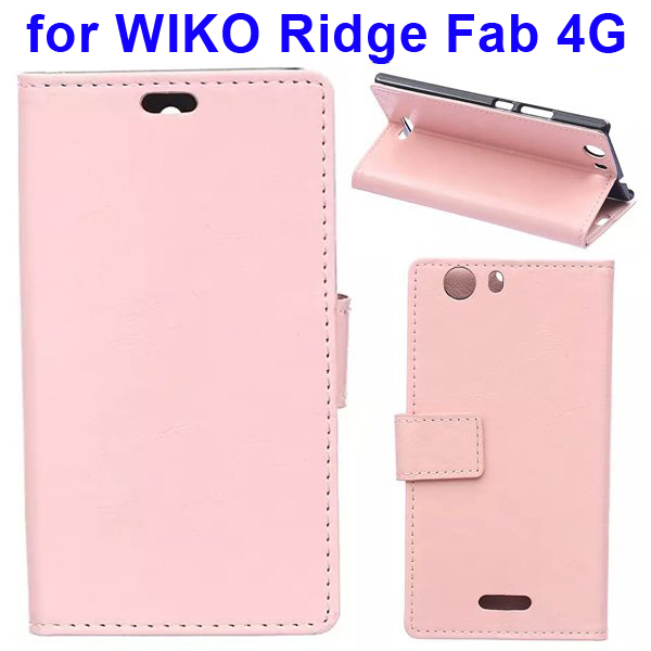 Crystal Texture Magnetic Buckle Style PU Leather Wallet Mobile Phone Cover for WIKO Ridge Fab (Pink)