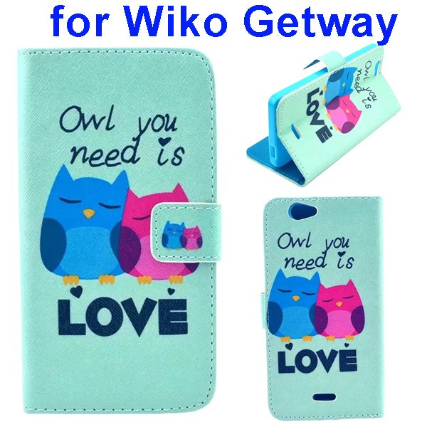 Color Printing Folio PU Leather Wallet Flip Cover for WIKO Getway (Owl Couple)
