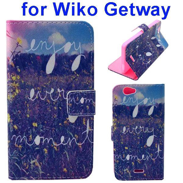 Color Printing Folio PU Leather Wallet Flip Cover for WIKO Getway (Quite Field)