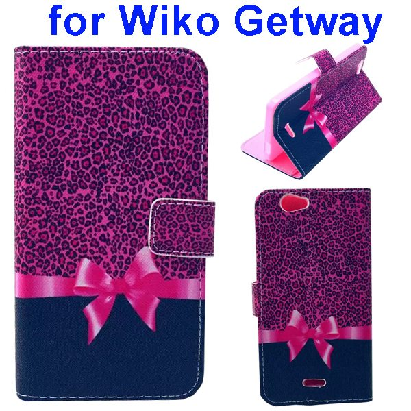 Color Printing Folio PU Leather Wallet Flip Cover for WIKO Getway (Bowknot)
