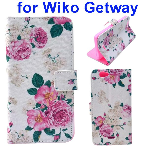 Color Printing Folio PU Leather Wallet Flip Cover for WIKO Getway (Flowers)