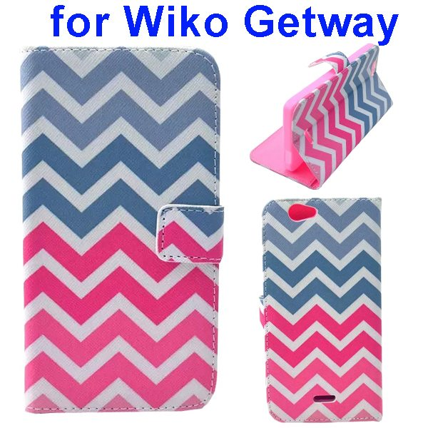 Color Printing Folio PU Leather Wallet Flip Cover for WIKO Getway (Wave)