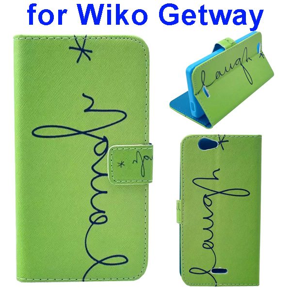Color Printing Folio PU Leather Wallet Flip Cover for WIKO Getway (Laugh)