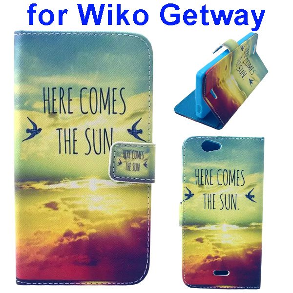 Color Printing Folio PU Leather Wallet Flip Cover for WIKO Getway (Sunset)