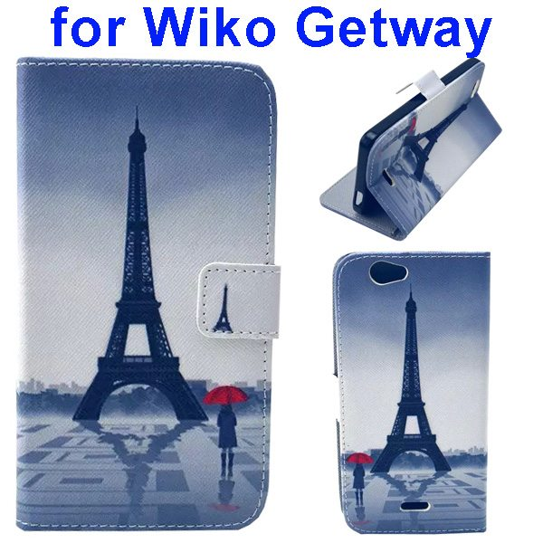 Color Printing Folio PU Leather Wallet Flip Cover for WIKO Getway (Tower)
