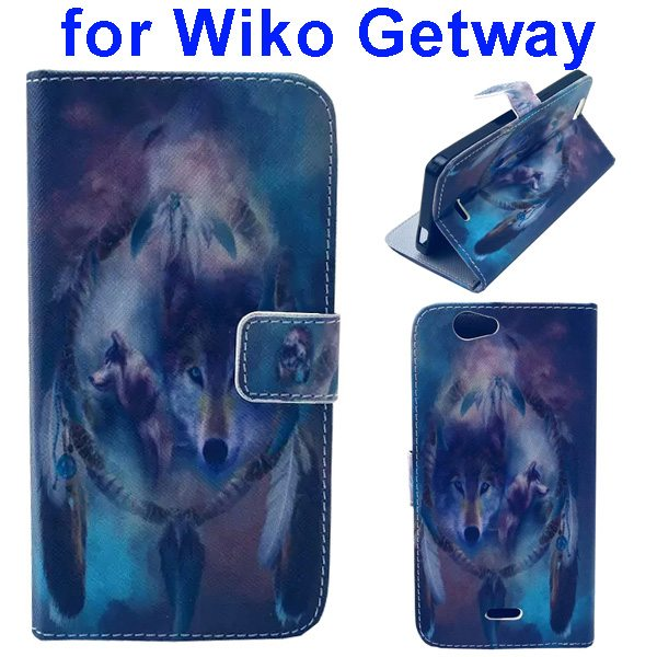 Color Printing Folio PU Leather Wallet Flip Cover for WIKO Getway (Wolf)