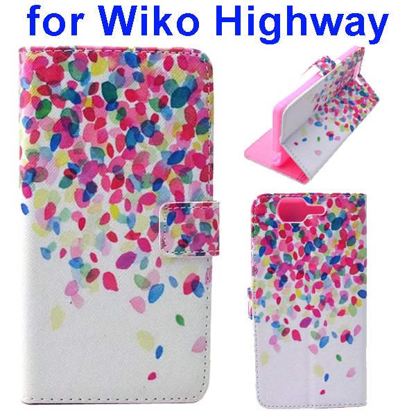 Colored Drawing Style Flip Wallet Leather Case Cover for Wiko Highway (Colorful Leaves)