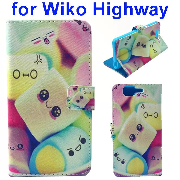 Colored Drawing Style Flip Wallet Leather Case Cover for Wiko Highway (Cute Face)