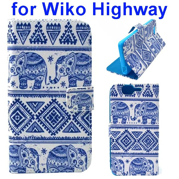 Colored Drawing Style Flip Wallet Leather Case Cover for Wiko Highway (Elephants)