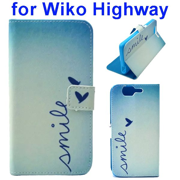 Colored Drawing Style Flip Wallet Leather Case Cover for Wiko Highway (Smile)