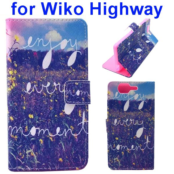 Colored Drawing Style Flip Wallet Leather Case Cover for Wiko Highway (Field)