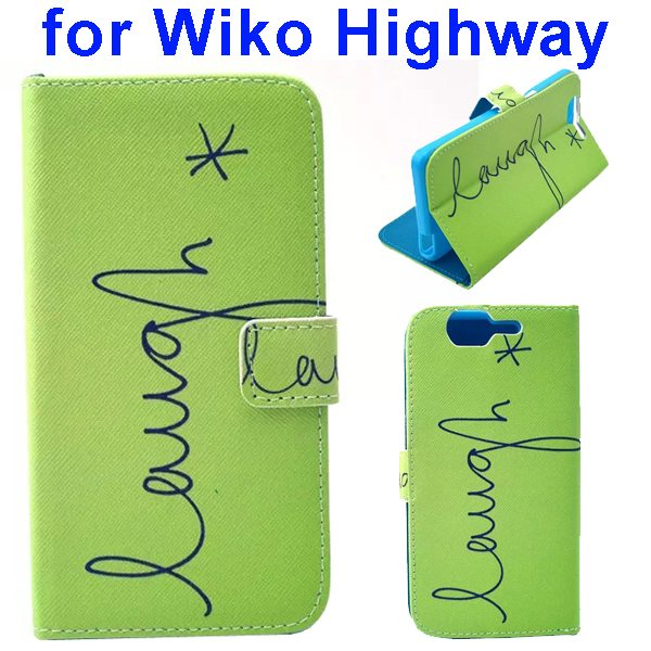 Colored Drawing Style Flip Wallet Leather Case Cover for Wiko Highway (Lines)