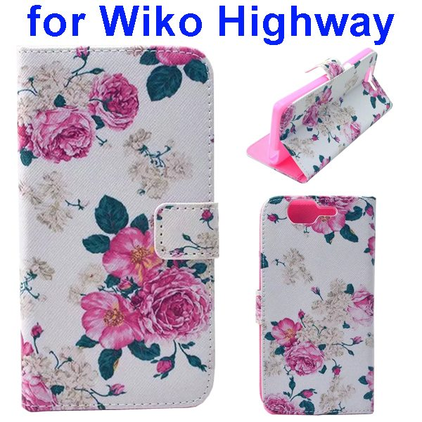 Colored Drawing Style Flip Wallet Leather Case Cover for Wiko Highway (Flowers)