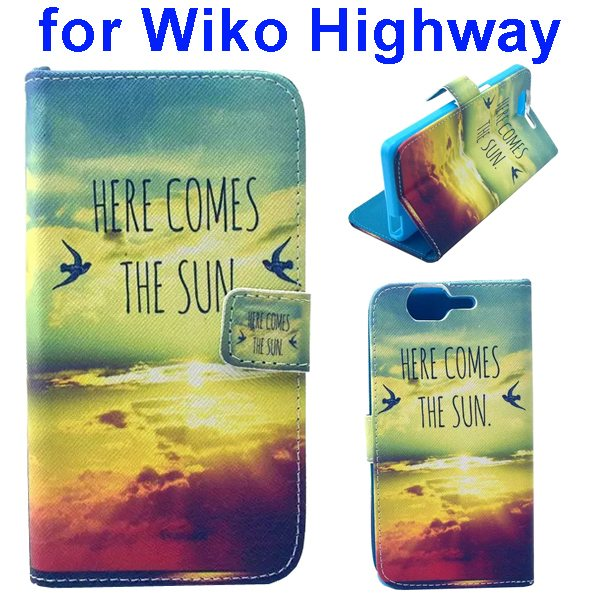 Colored Drawing Style Flip Wallet Leather Case Cover for Wiko Highway (Sunshine)