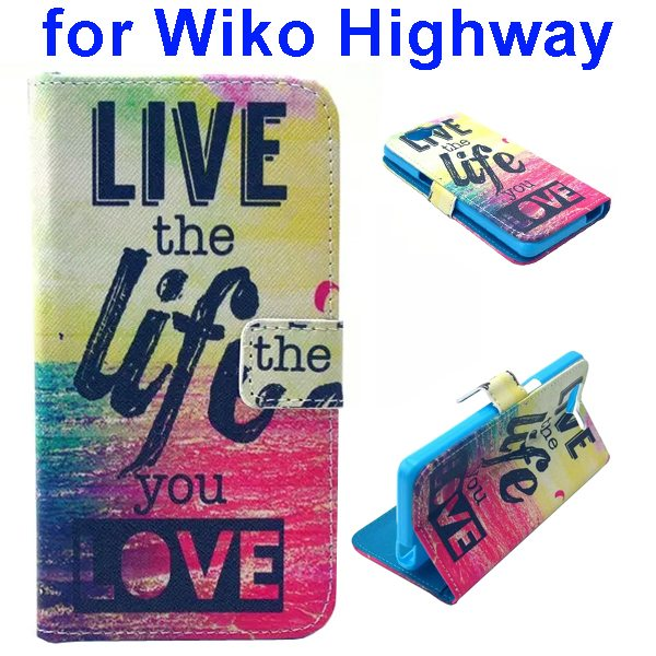 Colored Drawing Style Flip Wallet Leather Case Cover for Wiko Highway (Life)