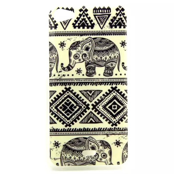 Ultrathin IMD Craft Soft TPU Protective Back Cover Case for Wiko Jimmy (Tribal Elephants)