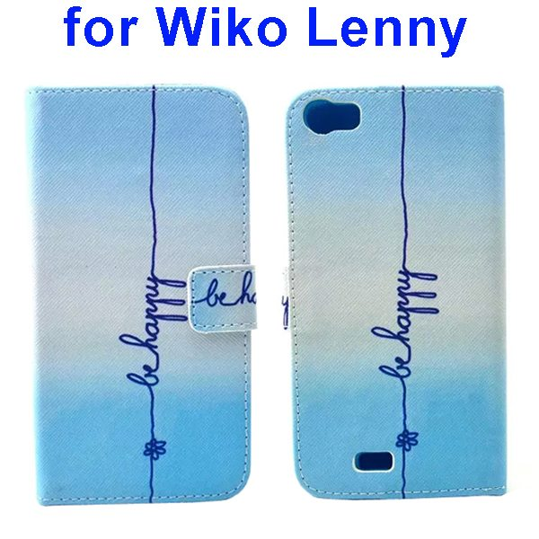 Colored Drawing Style Flip Wallet Leather Case Cover for Wiko Lenny (Line)
