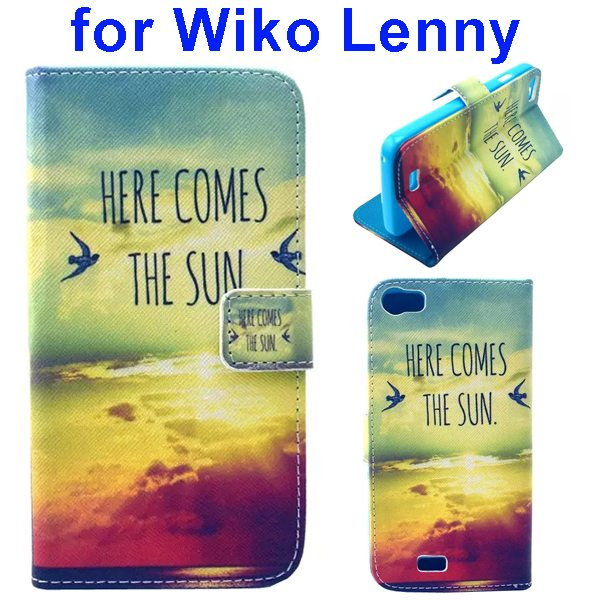 Colored Drawing Style Flip Wallet Leather Case Cover for Wiko Lenny (Sunshine)