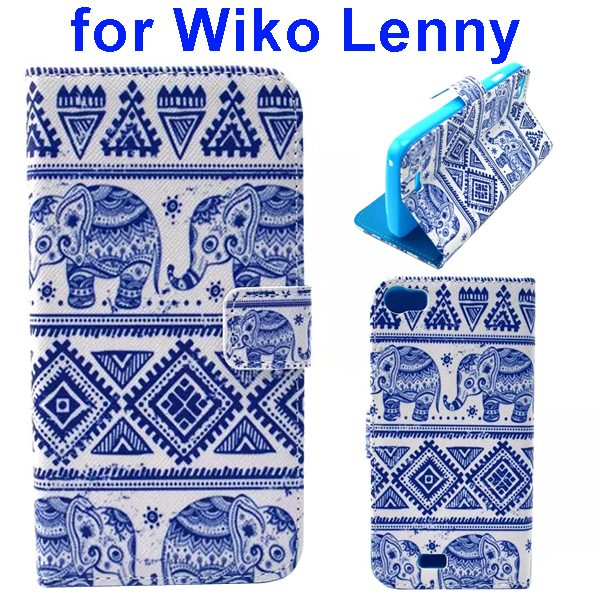 Colored Drawing Style Flip Wallet Leather Case Cover for Wiko Lenny (Elephant)