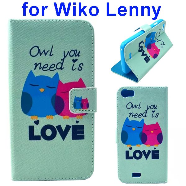 Colored Drawing Style Flip Wallet Leather Case Cover for Wiko Lenny (Owl)