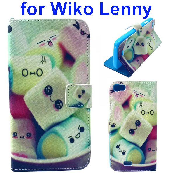 Colored Drawing Style Flip Wallet Leather Case Cover for Wiko Lenny (Cute Face)