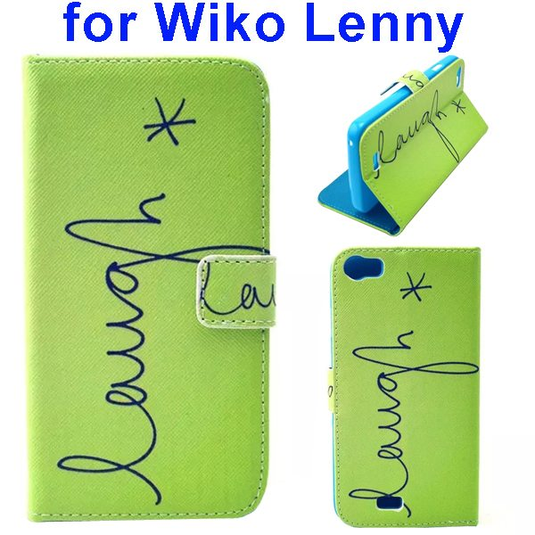 Colored Drawing Style Flip Wallet Leather Case Cover for Wiko Lenny (Laugh)