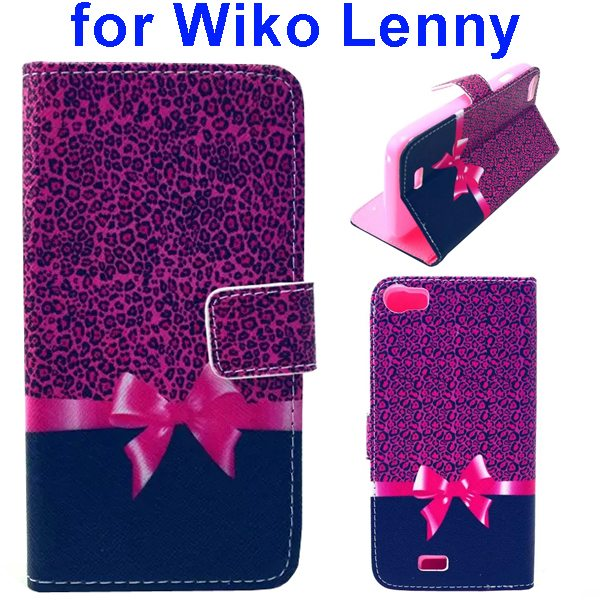 Colored Drawing Style Flip Wallet Leather Case Cover for Wiko Lenny (Bowknot)