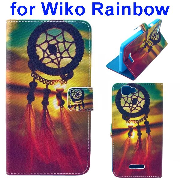 Colored Drawing Style Flip Wallet Leather Case Cover for Wiko Rainbow(Wind)